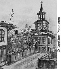 Pencil Drawing of The Old Clock Tower in Tryavna - Pencil...