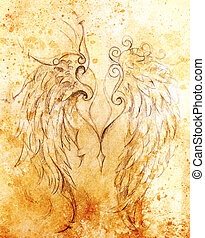Pencil drawing on old paper. angel wings, Sepia color.