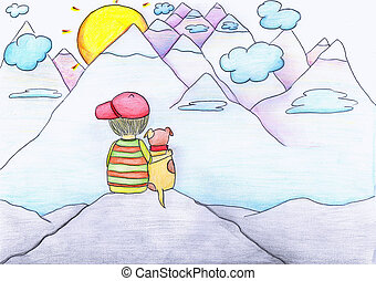 Pencil drawn boy and his dog watching the sunsets. Hand drawn illustration of friends sitting on the edge of a cliff.