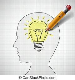light bulb in human head - Pencil draws a light bulb in ...