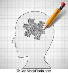 puzzle in the human head - Pencil draws a piece of the ...