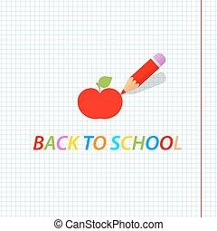 Pencil draws an apple. Back to school. Vector illustration .