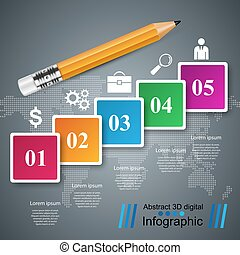 Pencil, education icon. Business infographic.