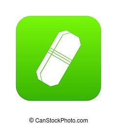 Pencil eraser icon digital green