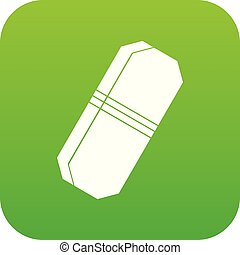 Pencil eraser icon digital green