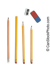 Pencil, eraser rubber, sharpener - Four pencils with a...