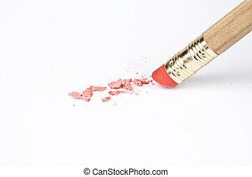 Pencil eraser extreme close up