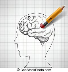 Pencil erases the human brain. Alzheimer disease. Stock...