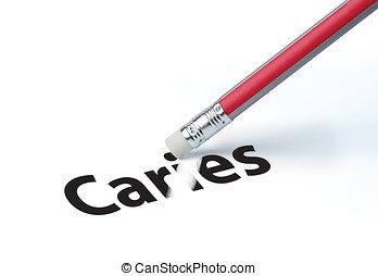 Pencil erasing the word 'Caries'