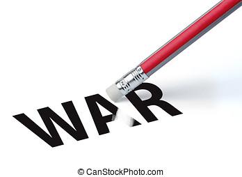 Pencil erasing the word 'WAR'