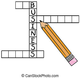 pencil filling in the word business on crossword puzzle - vector