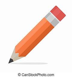 Pencil Flat Design vector Icon, school education