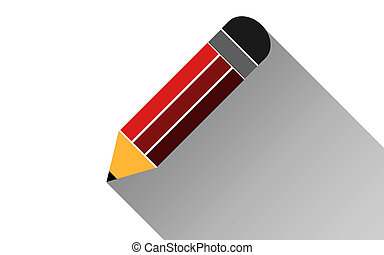 Pencil flat icon with long shadow