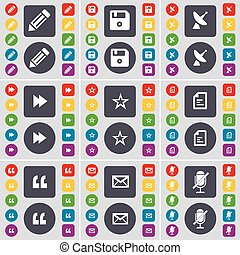 Pencil, Floppy, Satellite dish, Rewind, Star, File, Quotation, Message, Microphone icon symbol. A large set of flat, colored buttons for your design. Vector