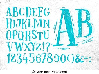 Pencil font blue alphabet