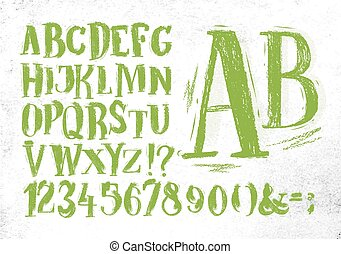 Pencil font green alphabet