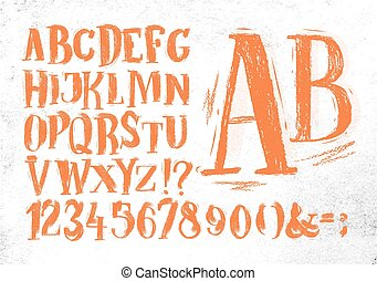 Pencil font orange alphabet
