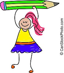pencil girl - little girl holding up giant pencil