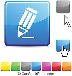Pencil glossy button. - Pencil glossy vibrant web icon.