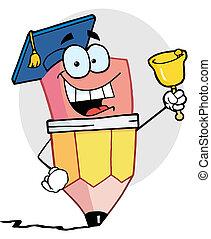 Pencil Graduate Ringing A Bell