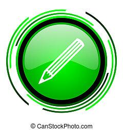 pencil green circle glossy icon