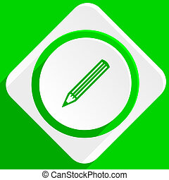 pencil green flat icon