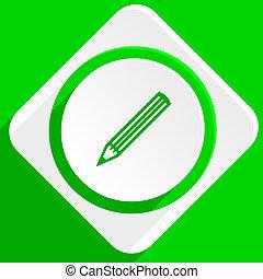 pencil green flat icon