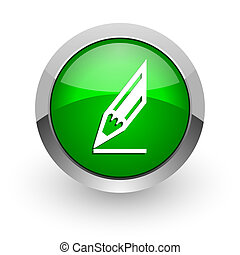 pencil green glossy web icon