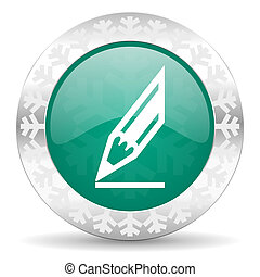 pencil green icon, christmas button, draw sign