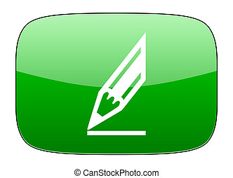 pencil green icon draw sign