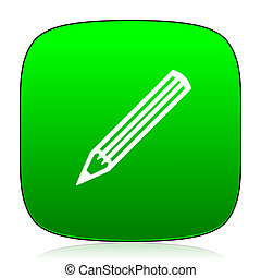 pencil green icon for web and mobile app