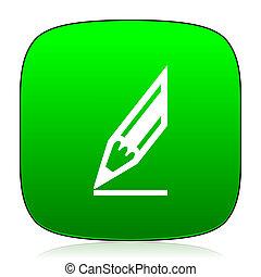 pencil green icon