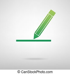 Pencil. Green icon