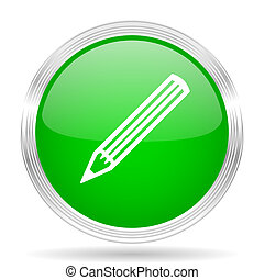 pencil green modern design web glossy icon