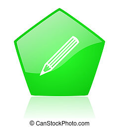 pencil green pentagon web glossy icon