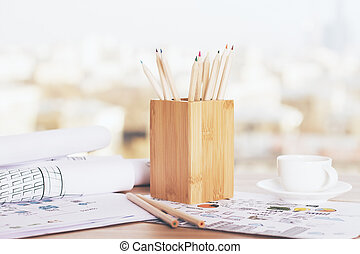 Pencil holder and coffee
