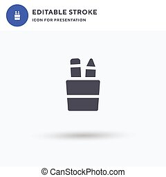 Pencil Holder icon vector, filled flat sign, solid pictogram isolated on white, logo illustration. Pencil Holder icon for presentation.