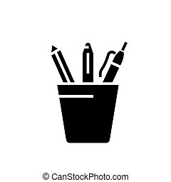 Pencil holder icon, vector illustration, black sign on isolated background