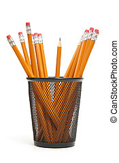 Pencil Holder - A single sharpened pencil standing upright...