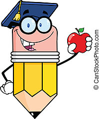 Pencil Holding A Red Apple