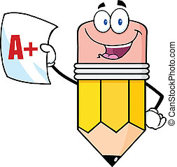 Pencil Holding A Report Card - Smiling Pencil Holding An A...