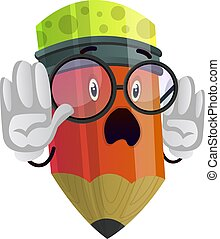 Pencil holding his hands up illustration vector on white background