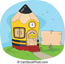 Pencil House - Illustration of a House Shaped Like a Pencil