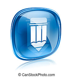 Pencil icon blue glass, isolated on white background