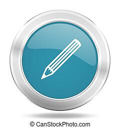 pencil icon, blue round glossy metallic button, web and mobile app design illustration