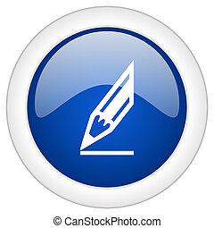 pencil icon, circle blue glossy internet button, web and mobile app illustration