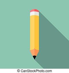Pencil icon, colored flat