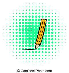 Pencil icon, comics style