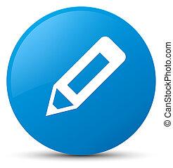 Pencil icon cyan blue round button
