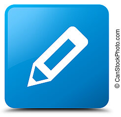 Pencil icon cyan blue square button